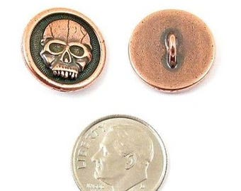 TierraCast Pewter Buttons-Copper Plated Scary Skull 17mm (2)