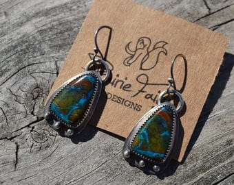 Chrysocolla Triangle Earrings Hand Fabricated Sterling Silver