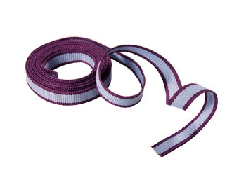 "10mm Wide Loose Cut Piece of Narrow Striped Grosgrain Ribbon Trim - Purple Bordered, Ribbed Textured Light Blue (70"", 1.9yds)"
