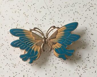 Butterflies Are Free - 1970's 1980's Metal Butterfly Belt Buckle