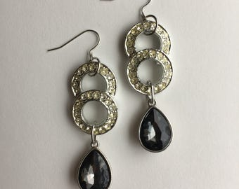 Charcoal Gray and Circle Rhinestone Chandelier Statement Earrings- Heirloom Collection