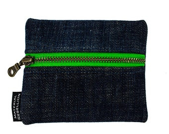 Teeny Green Zipper Pouch - Made from Upcycled Denim & T-Shirts