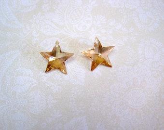 Swarovski Crystal Golden Shadow Star Pendant - 20mm