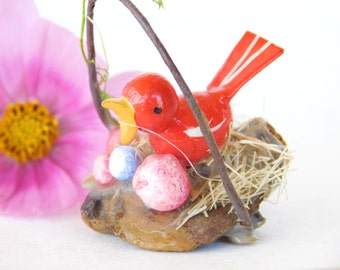 Vintage Miniature Painted Wood Red Mother Bird Figurine , Nest Basket made of Pine Cone scale, Italy Wood Collectible Italian Folkart