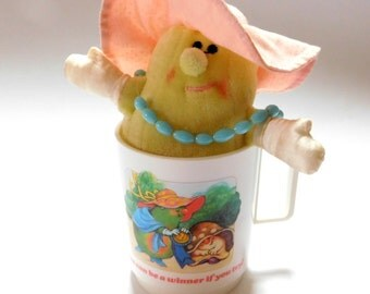 Vintage Avon Somersaults Plastic Drinking Mug , matching Soft Toy ,Miss Pear Plushie Small Stuffed Animal Dated 1986 , 80's Retro Toys