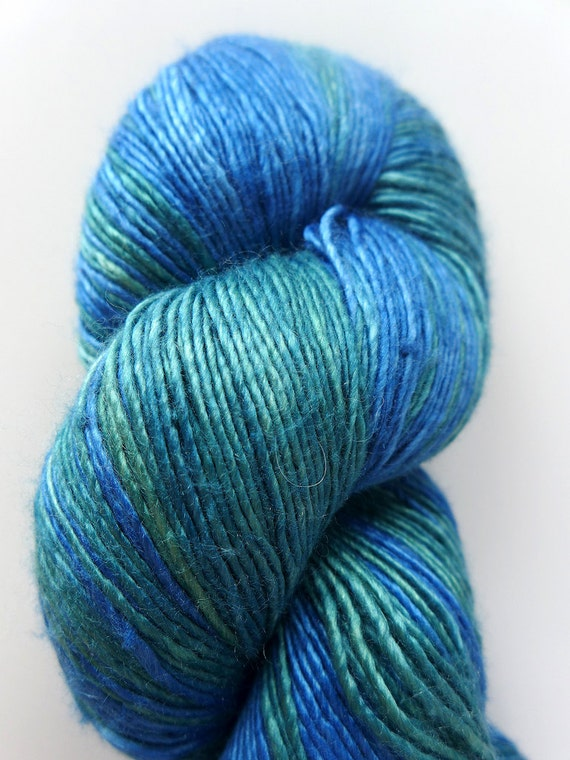 The Natural Dye Studio Precious - Crete - Ocean Blue Green Waters Hand Dyed Luxury Silk Fingering Yarn