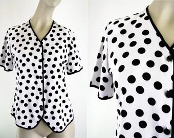 Lauren Lee Short Sleeve Black and White Polka Dot Woman's Vintage Button Down Blouse