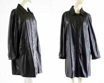 Vintage Black Leather Avanti Brand Button Down Woman's Retro Swing Coat