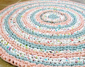 """Crochet rag rug, pink and blue, 30"""" round, baby, cottage, shabby chic, eco, recycle, repupose."""