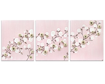 Wall Art Pink Girls Nursery - Sculpted Flower Painting on Triptych Canvas - Large 50x20