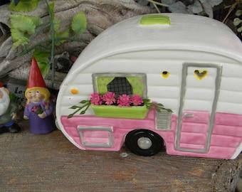 Camper  Fairy  House Ceramic Vintage Shasta    Lighted Nightlight fantasy fairy room decor