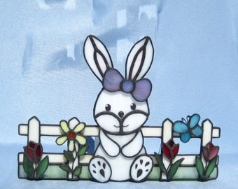 Easter Decoration Easter Bunny Stained Glass Tea Light Holder Spring Flowers Candleholder Bunny Rabbit Candleholder Easter Stained Glass