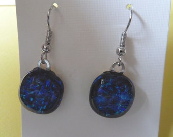 Hypo-Allergenic Dark Blue Coloured Dichroic Glass Drop Earrings with Surgical Steel Ear Wires
