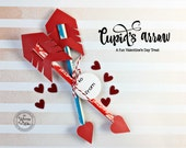 KIT Cupid Arrow Sets /Valentine's Day Treat / Pixy Stixs or Pencils / Classroom Treat / Valentine's Day Party Favors / Heart Arrows