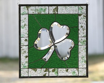 SHAMROCK~Stained Glass Window Panel, Stained Glass Window, Stain Glass, Irish, St. Patricks, Shamrock, Green, Clear Bevels, Ready to Ship