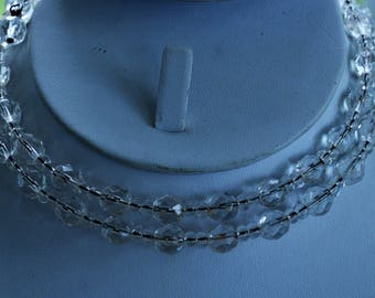Beautiful Vintage Clear Crystal Choker Wire Necklace, Small