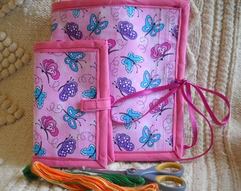 Pink Butterflies Sewing Caddy, Needle Book, Hand Sewing Organizers