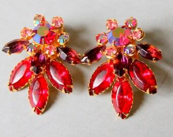BeauJewels Rhinestone Earrings Red Aurora borealis signed Vintage