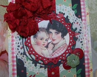 Mothers Day Card Handmade Vintage Retro All Occasion Card for MOM