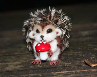 Baby Hedgehog (1) needle felt wool miniature animal (woolcrazy)