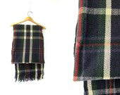 Vintage Navy Blue Wool Plaid Blanket with Fringe Montgomery Ward Motor Weave Camp Blanket Bedding 1950s Kilt Print Throw