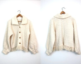 Vintage Wool Sweater Coat Soft Sheep Natural Wool Poncho Jacket Button Up Sweater Wooden Buttons Cream Hand Knit Fringed Blanket Coat