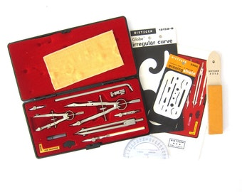 Vintage Dietzgen Star 1288 PJL Drafting Tools Instruments in Plastic Box Case Artist Architect