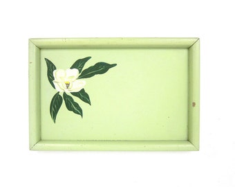 Mid Century Serving Tray Green Painted Flower TV Lap Tray Plant Plate Barware Hipster Platter Cottage Chic Wood Platter