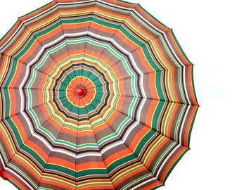 Striped Vintage Umbrella w Red Plastic handle Mid Century Parasol yellow Green orange Umbrella Rainy Day Hipster