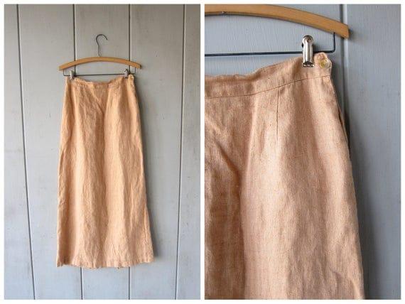 Vintage Natural Linen Skirt Long Minimal Midi Skirt Modern Peachy Beige Linen Midi Skirt Basic Minimal Skirt POCKETS Womens Medium