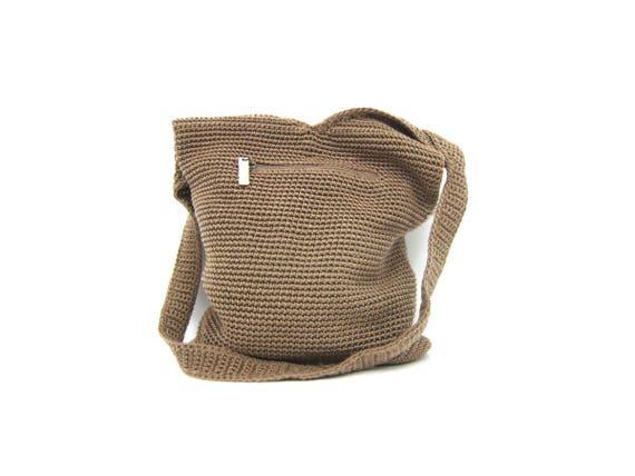 Dark Taupe fabric bucket bag The SAK purse Vintage woven bag shoulder bag purse boho bag crochet knit handbag hobo knit tote