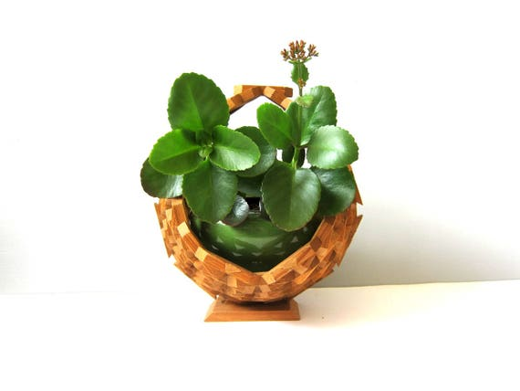 Geometric Wooden Plant Basket Modern Folk Art Craft Hanging Wood Plant Holder 1970s BOHO Decor Natural Plant Hanger Basket Vintage GS