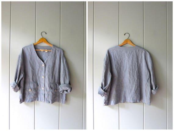 Minimal Dusty Blue Gray Linen Blouse Oversized Button Up Shirt Jacket 90s Casual Top Long Slouchy Pocket Shirt Modern Blouse Womens Medium