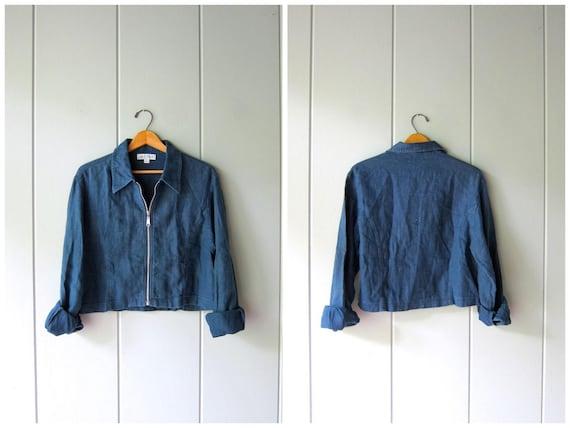 Cropped Linen Jacket Minimal Indigo Blue Blouse Zip Up Shirt Jacket 90s Casual Crop Top Modern Linen Shirt Zipper Blouse Womens Small