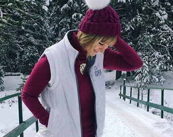 Knit Cable hat, knit cable beanie, knit hat, knit beanie, hat, beanie, knit Bordeaux hat, women hat