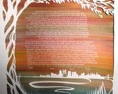 Philadelphia Love Papercut Ketubah - hand lettering - reserved for Caitlin and Daniel