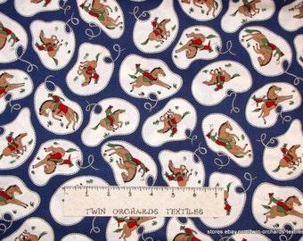Vintage Cowboy Lasso Fabric Navy Blue Cotton YARDS
