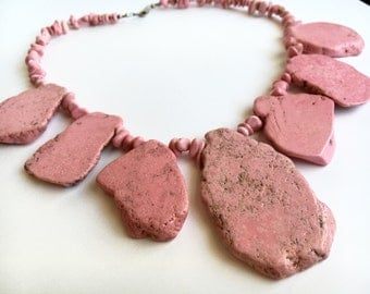 Statement Collar Necklace - Pink Statement Necklace - Pink Necklace