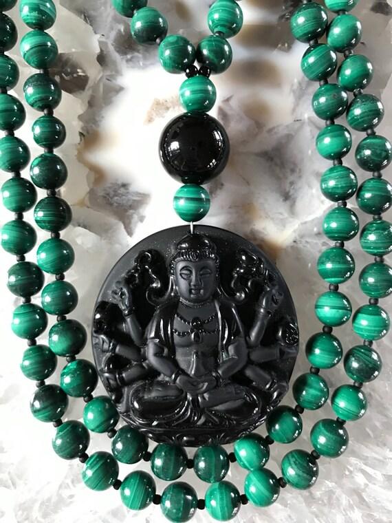 Malachite and Obsidian Mala