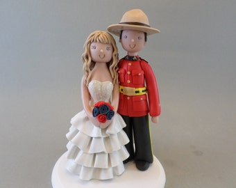 Unique Cake Toppers - Bride & Groom Personalized Canadian Mountie Wedding Cake Topper