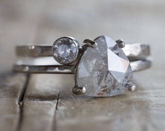 Natural Silver-Clear Rose Cut Diamond Ring