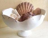 Large Shabby Chic Farmhouse Style White Wooden Pedestal Bowl Upcycled Vintage