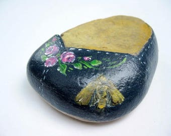 Painted Roses on Stone, Painted Stone, Paper Weight, Office Decor, Insect, Whimsical, Door Stop, Beach Decor, by gardenstones on etsy