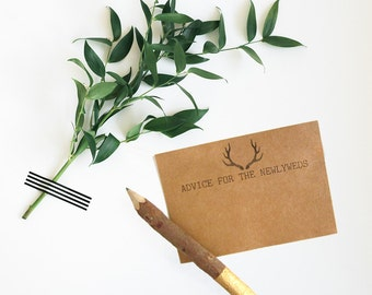 Antler Bridal Shower Theme - Advice Cards - Advice for the Newlyweds - Advice for the Bride-to-Be - Rustic Advice Cards - Bridal Shower Idea