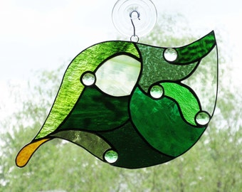 Stained Glass Leaf Panel  -  FREE Shipping & Insurance in the USA