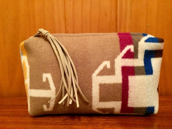 Wool Clutch Unlined / Travel Bag / Cosmetic Bag Large Tan & Winter White