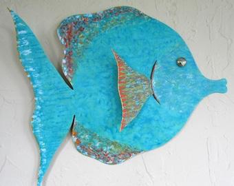 Large Metal Wall Art Tropical Fish Sculpture Bathroom beach House Coastal Decor Aqua Blue Green Recycled Metal Wall Art 18 x 19