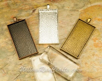"""40 pcs 1"""" x 2""""  Rectangle Pendant Trays with 40 Rectangle Glass in Bronze, Antique Copper and Silver Plated, Blank Bezel Cabochon Setting"""