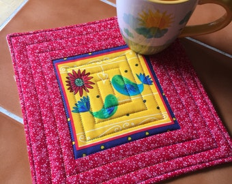 Lift Your Spirits Bright mug rug - oversized coaster / Birds, flowers / gift for her / quilted / red and yellow / daisy / wendy bentley
