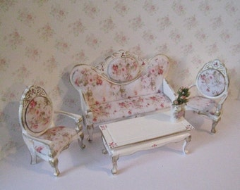 Dollhouse   living room set, 5 piece set,  dollhouse  seating, tatty chic , white with gold set, 1/12 scale, sofa, 2 chairs set